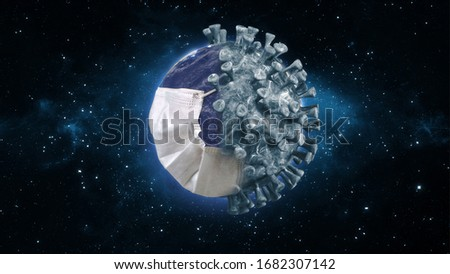 The whole world is wearing a mask to prevent pandemic virus. The virus is swallowing up this world. 3D Render Earth with Mask Protection the Virus Isolated with Clipping path.