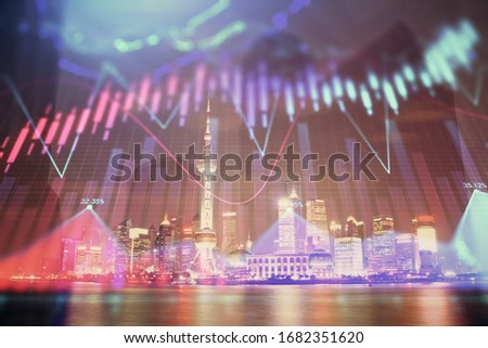 Financial graph on night city scape with tall buildings background multi exposure. Analysis concept. #1682351620