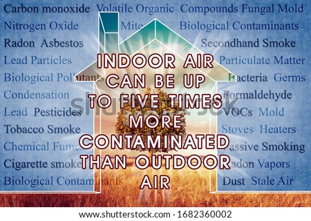 Indoor Air More Contaminated than Outdoor - concept image with the most common dangerous domestic pollutants in our homes. Royalty-Free Stock Photo #1682360002