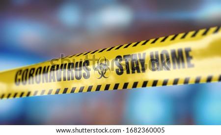 Coronavirus yellow tape with information Stay home #1682360005