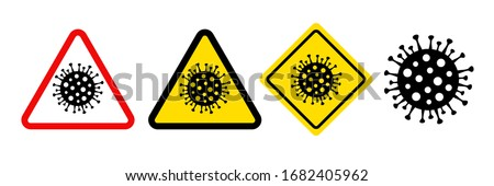 Pandemic stop Novel Coronavirus outbreak covid-19. 2019-nCoV symptom in Wuhan China. Travel or vacantion Europe warning with air plane and quarantine danger sign. Vector quarantine caution icon #1682405962