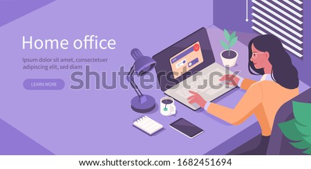 Woman Working at Home Office. Character Sitting at Desk in Room, Looking at Computer Screen and Talking with Colleagues Online. Home Office Concept.  Flat Isometric Vector Illustration. Royalty-Free Stock Photo #1682451694