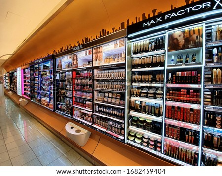 Oberhausen, Germany - 23 March 2020: Wall of Make up products, DM shop in CentrO one of the biggest shopping malls in Europe.  #1682459404