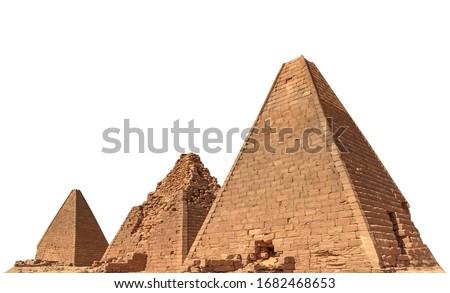Pyramids near Jebel Barkal (Sudan) isolated on white background #1682468653