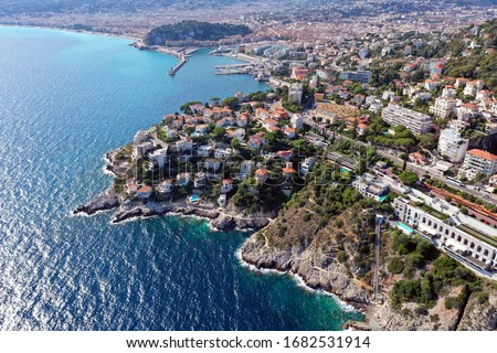 Beautiful panoramic view of the coast of the South of France. Cote d'azur, nice. Aerial photography. Royalty-Free Stock Photo #1682531914