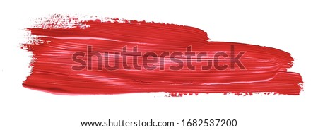 Red colored brush stroke paiting over isolated background, canvas watercolor texture, red lipstick smudge #1682537200