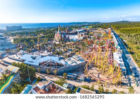 Vinpearl Land, Phu Quoc, Vietnam - Jan 25th 2019: Castle and Roller Coaster in The Vinpearl Land Amusement Park, the Largest Recreational Theme Park in Phu Quoc Island, Vietnam, Southeast Asia. #1682565295