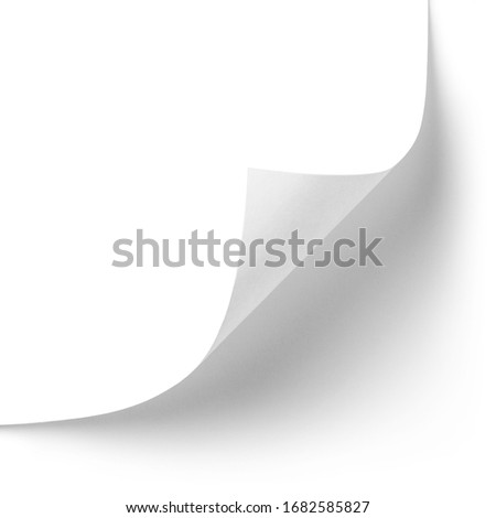 Curved corner of a paper page, isolated on white background Royalty-Free Stock Photo #1682585827