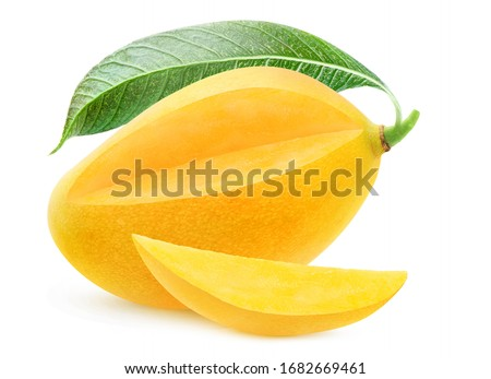 Isolated yellow mango. One whole mango fruit with leaf with cut out piece isolated on white background #1682669461
