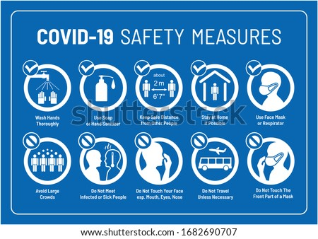 Set of Corona Virus COVID-19 Safety Measures and Precautions Warning Signs - How to Protect Yourself and Others - What To Do Signs - Infographics in Blue European Motorway/Highway Roadsign Style #1682690707
