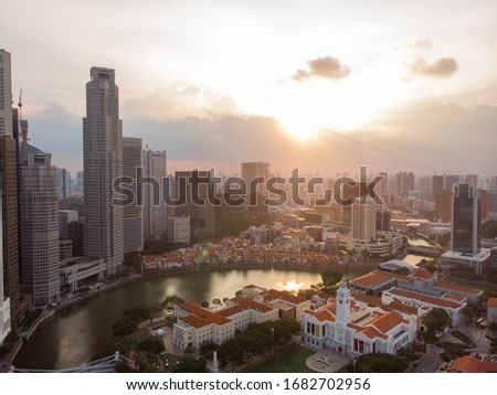 View for downtown and business district from sky in Singapore  #1682702956
