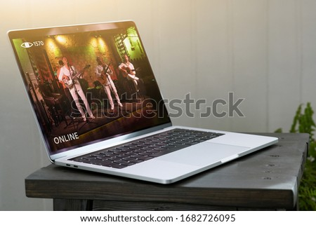 Online concert of music band. Royalty-Free Stock Photo #1682726095