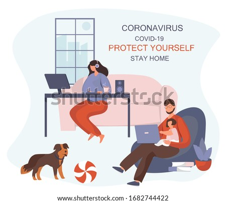 Stay Home Work Home.Protect Yourself.Family keeping Distance for Decrease Infection Risk For Prevent Virus Covid-19.Stay Home on Quarantine During the Coronavirus Epidemic.Vector Illustration #1682744422