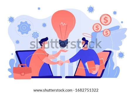 Entrepreneurship during covid-2019 pandemic quarantine, new online business idea funding. Angel investor, startup financial support, business help concept. Coral blue vector isolated illustration #1682751322