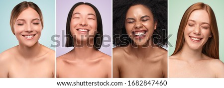 Collage of portraits of beautiful multiracial women with clean skin laughing with closed eyes against colorful backgrounds Royalty-Free Stock Photo #1682847460