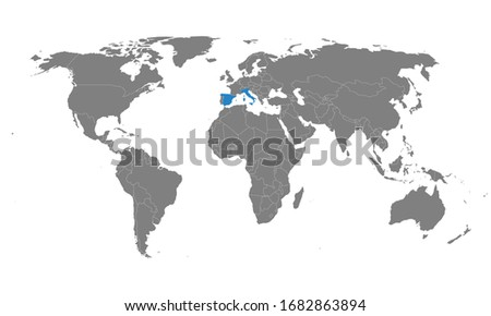 Spain, italy countries highlighted on world map. Diplomatic, trade, travel, health relations. #1682863894