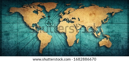 Old map of the world on a old parchment background. Vintage style. Elements of this Image Furnished by NASA. Royalty-Free Stock Photo #1682886670
