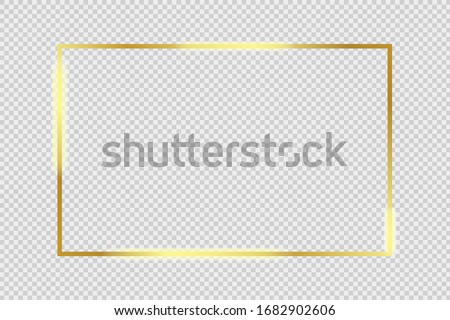 Gold glowing frame with shiny shadows isolated on transparent background Vector illustration eps 10 #1682902606