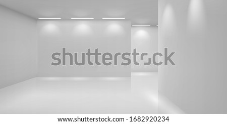 Art gallery empty 3d room with white walls, floor and illumination lamps. Museum interior passages with lights for pictures presentation, photography contest exhibition hall, Realistic vector mock up Royalty-Free Stock Photo #1682920234