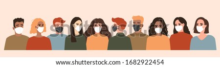 Group of people in white and black medical face mask, coronavirus, covid-19. Season virus and quarantine. Vector illustration, seamless pattern in modern flat style, isolated on light background. #1682922454