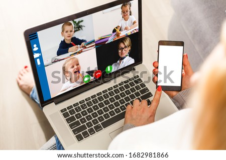 Cropped image of cheerful blogger having funny conversation with best friend in video chat on modern touchpad connecting to wireless 4G internet.Young man sharing impressions of trip on webcam #1682981866