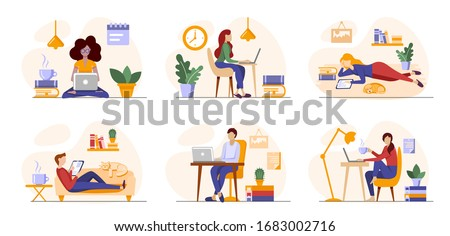 Working freelance, learning or studying at home. Freelancers or students working online in laptops, tablets in a cosy atmosphere with books, plants. Self-employed people work in convenient conditions #1683002716