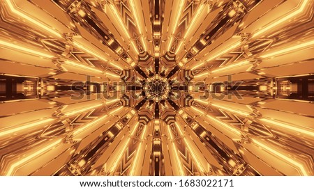 An illustration of golden lights flowing in motion into a single direction #1683022171