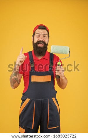 Bright idea. Construction and renovation services. Decoration and decor. Perfect surface painting. Skillful painter. Bearded man painter on yellow background. Painting tool. Brush roller painter. #1683023722