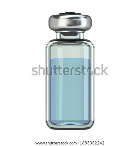 Vertical glass ampoule with cure 3D render illustration isolated on white background #1683032242