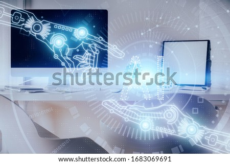 Multi exposure of data theme drawing and office interior background. Concept of technology. #1683069691