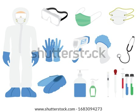 flat vector illustration of personal protective equipment in the hospital to face covid-19 the pandemic and other illnesses around the world to prevent covid-19 corona virus concept Royalty-Free Stock Photo #1683094273