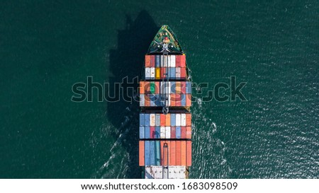 Aerial view container ship carrying container box global business cargo freight shipping commercial trade logistic and transportation oversea worldwide container vessel, Container cargo freight ship. #1683098509