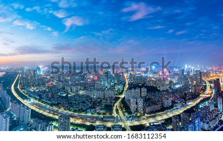 City Skyline in the Evening of Nanshan, Shenzhen, Guangdong, China Royalty-Free Stock Photo #1683112354