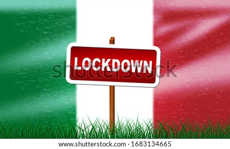 Italy lockdown stopping ncov epidemic or outbreak. Covid 19 Italian ban to isolate disease infection - 3d Illustration #1683134665