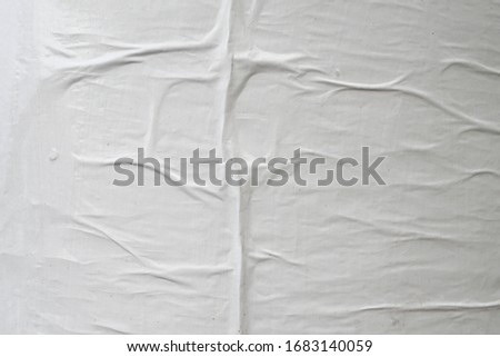 wrinkled abstract creased worn weathered exposed white empty clear street poster paper texture  #1683140059