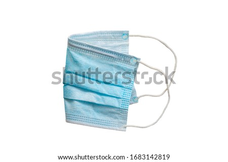 Side view of blue three ply surgical mask on isolated white background, attached clipping path