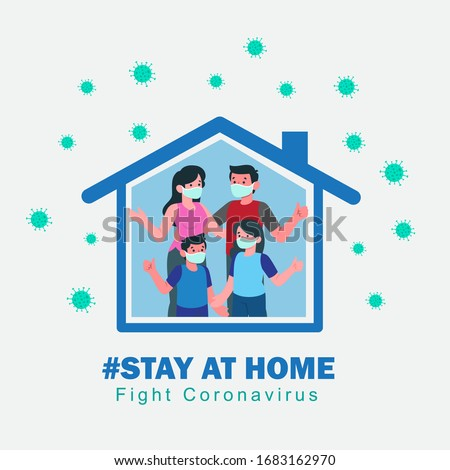 I stay at home awareness social media campaign and coronavirus prevention: family smiling and staying together #1683162970