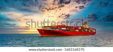 Container cargo ship, Freight shipping maritime vessel., Global business import export commerce trade logistic and transportation worldwide by container cargo ship boat in the open sea Royalty-Free Stock Photo #1683168370
