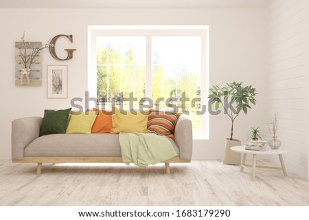 White living room with sofa. Scandinavian interior design. 3D illustration #1683179290