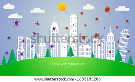 coronavirus COVID-19 spreading in the world. paper cut city. vector virus concept. #1683183286