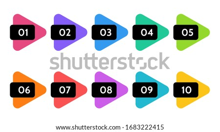 Bullet points, info markers. Triangle icon arrow set.  Number Flags 1 to 10 Flat design infographic isolated vector. Royalty-Free Stock Photo #1683222415