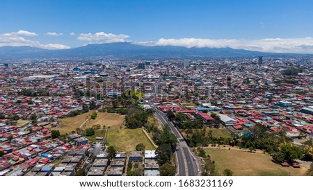 Beautiful aerial view of the empty streets  of San Jose Costa Rica #1683231169