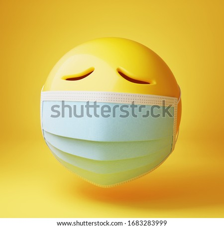 Sad emoji with a medical mask. Isolated, clipping path included. 3d illustration