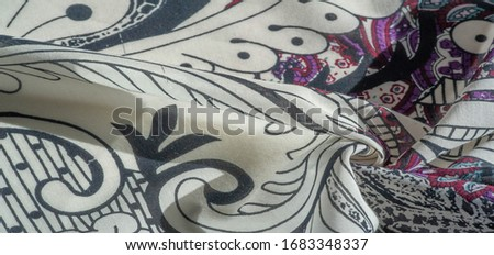 Background texture. cotton women scarf black and white pattern on one side of the scarf and color paisley pattern on the other side #1683348337