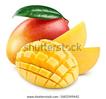 Red mango half isolated on white background. Mango clipping path. Mango fruits #1683349642