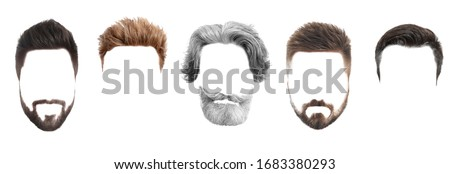 Set of fashionable men's hairstyles for designers isolated on white Royalty-Free Stock Photo #1683380293