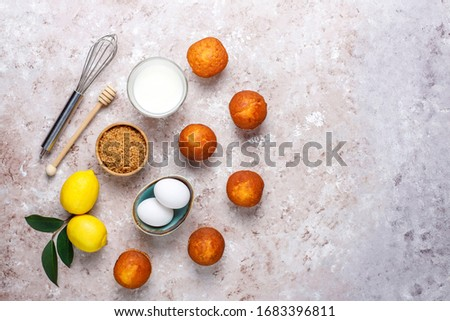 Cupcake baking background with kitchen utensils. #1683396811
