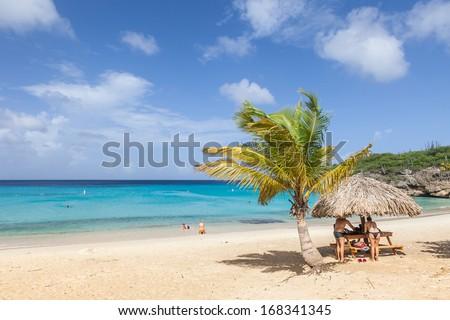 The beautiful Grande Knip Beach on the island of Curacao Caribbean #168341345