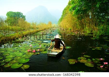 Yen stream on the way to Huong pagoda in autumn, Hanoi, Vietnam. Vietnam landscapes. Royalty-Free Stock Photo #168342398