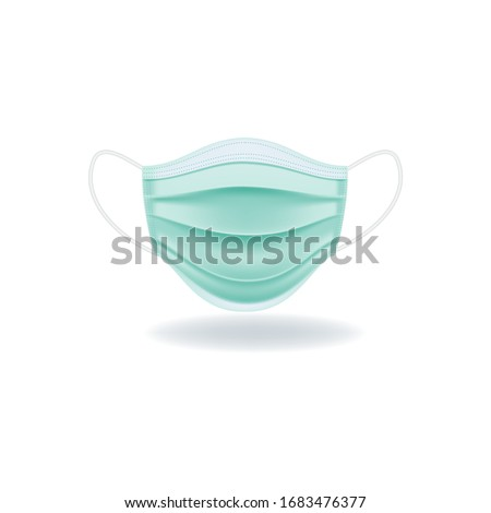Protective medical face mask isolated on white background. Realistic vector illustration.  #1683476377